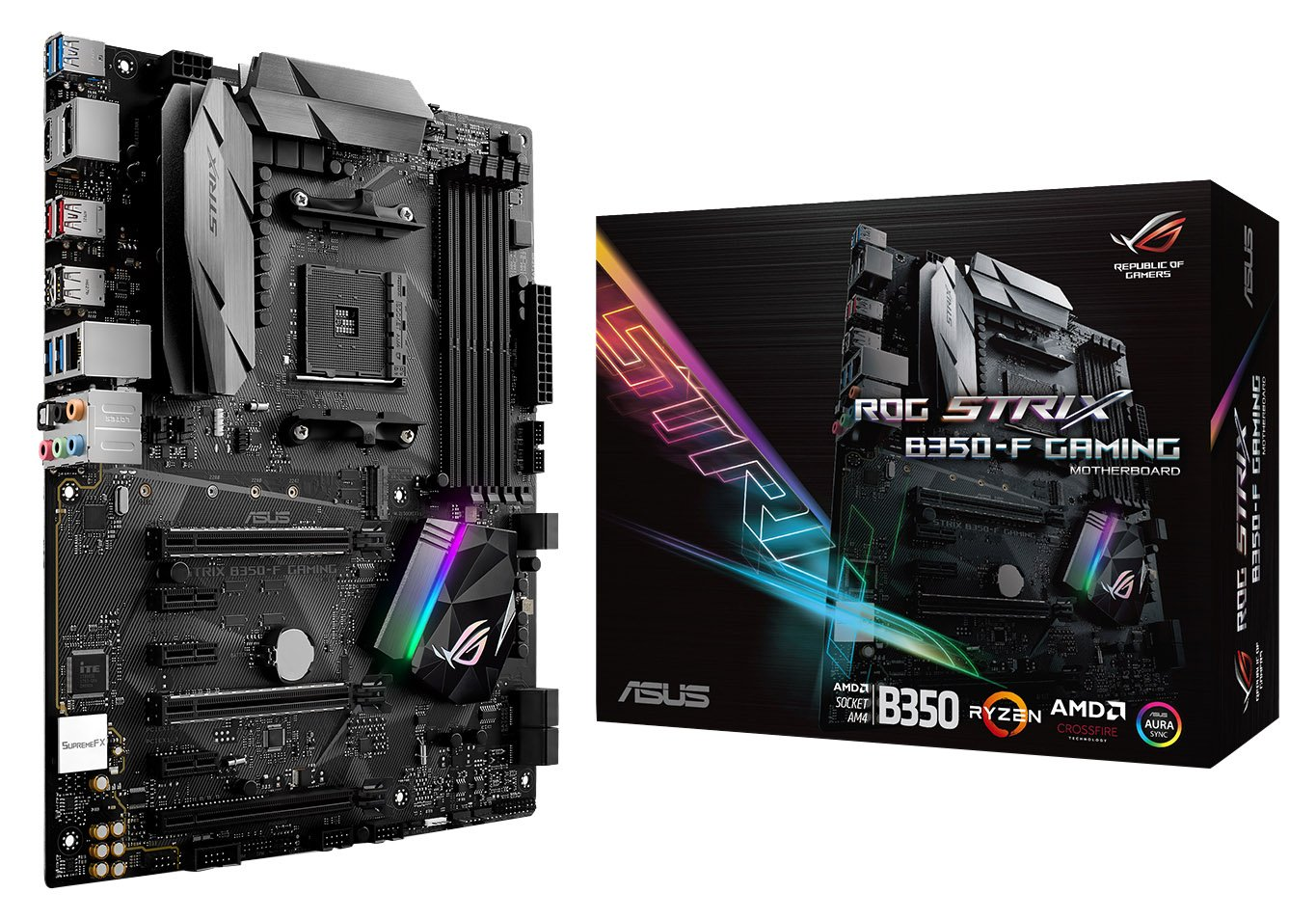 ASUS ROG STRIX B350-F GAMING AMD Ryzen AM4 DDR4 HDMI DisplayPort M.2 USB 3.1 ATX B350 Motherboard by Asus