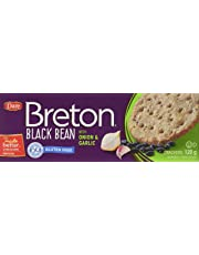 Dare Breton Gluten Free Crackers, Black Bean with Onion and Garlic –Gluten Free Party Snackswith 2g of Fiber and Protein per Serving– 120 Grams