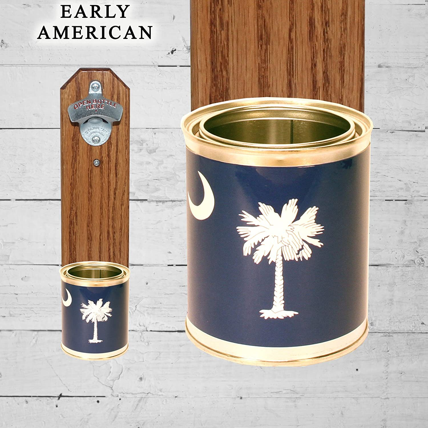 Wall Mounted Bottle Opener with South Carolina Flag Tin Can Beer Cap Catcher