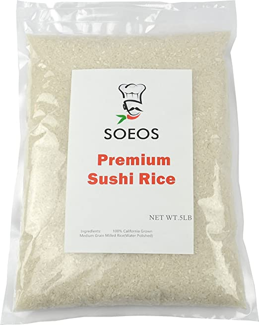 Soeos Premium Sushi Rice, Calrose White Rice, Dried White Rice, White Sicky Rice, Best Rice for Sushi, 5Lb.