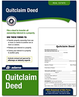 Amazon quitclaim deed form with instructions includes paper adams quitclaim deed forms and instructions lf298 solutioingenieria Choice Image