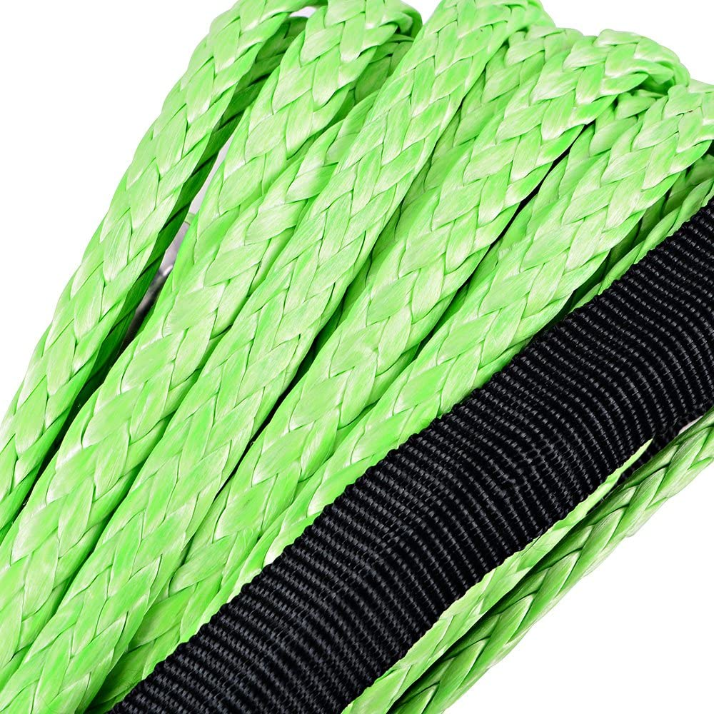 Astra Depot 50 x 1//4 6400lbs Black Synthetic Winch Rope Cable Rubber Stopper ATV UTV SUV KFI Recovery Replacement