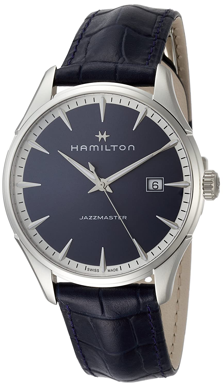 bce99f9498c Amazon.com  Hamilton Jazzmaster Blue Dial Mens Leather Watch H32451641   Watches