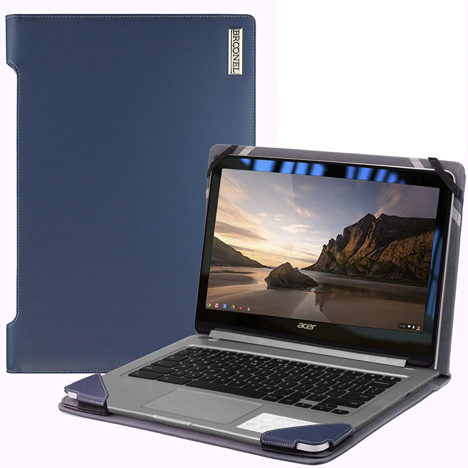 Broonel London - Profile Series - Blue Vegan Leather Laptop Case Cover Sleeve Compatible with The Acer Chromebook R13