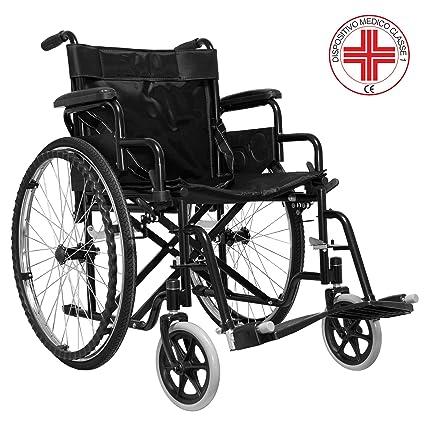 c99a76cedf7b Sedia a Rotelle Pieghevole Leggera ad Autospinta,Carrozzina per Disabili ed  Anziani con Braccioli Poggiapiedi