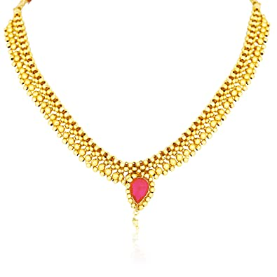 61de4904cb4 Buy Meenaz Jewellery Gold Plated Traditional Maharashtrian Thushi ...