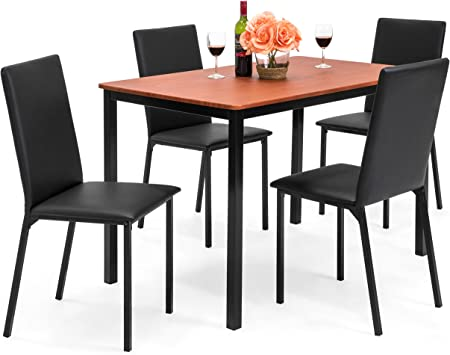 Amazon Com Best Choice Products Rectangle Dining Table Furniture Set W 4 Faux Leather Chairs 5 Piece Black Table Chair Sets