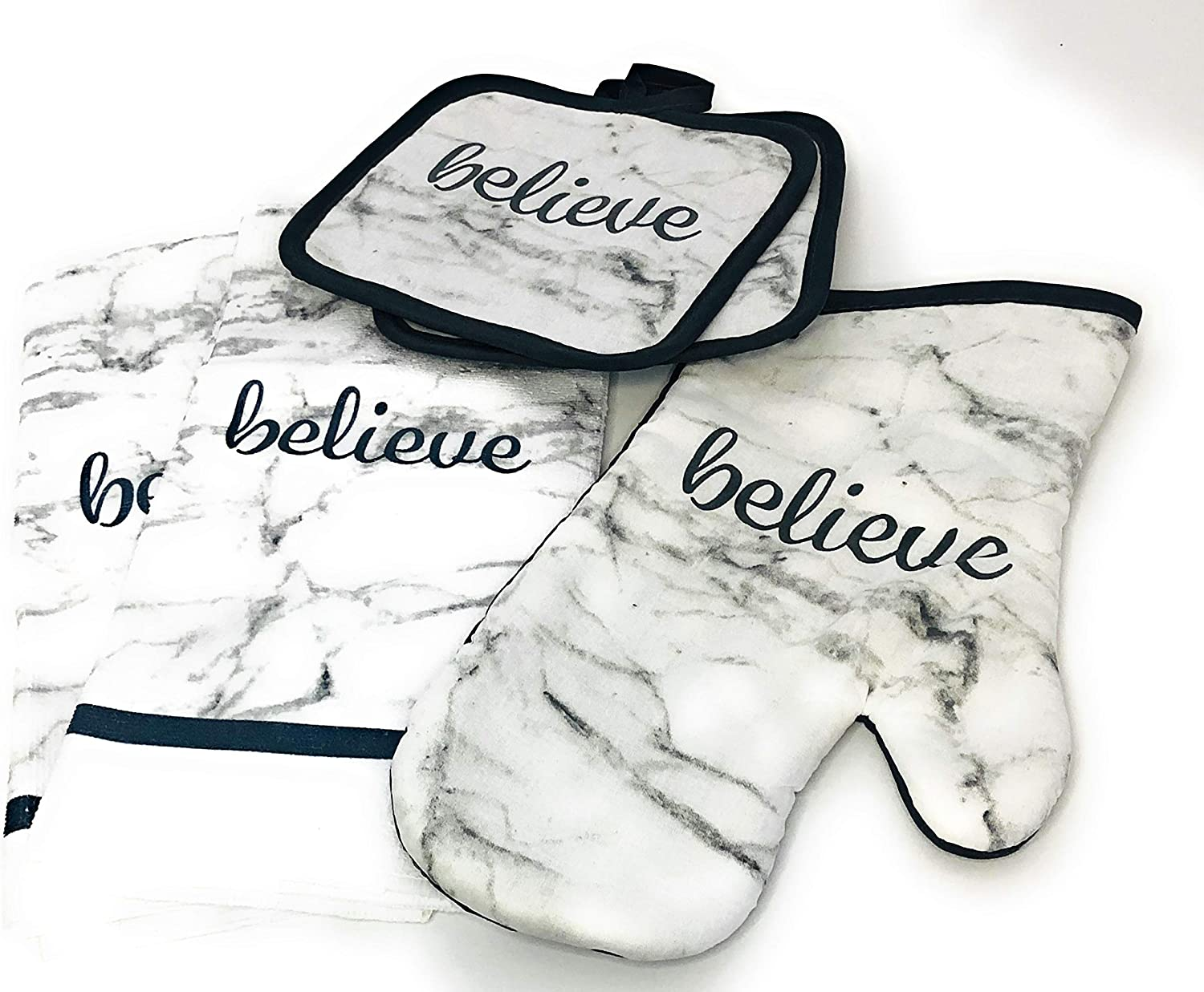 Home Collection 5 Piece Kitchen Linen Bundle with 2 Dish Towels, 2 Potholders, and 1 Oven Mitt (Believe)