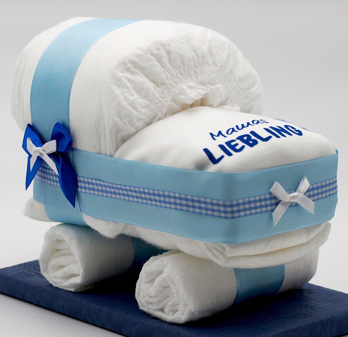 pañales Mundial de tartas pequeñas Tarta Pañales Pañales carro Azul para joven - con babero Madres favoritos - El regalo perfecto para nacimiento o bautizo ...