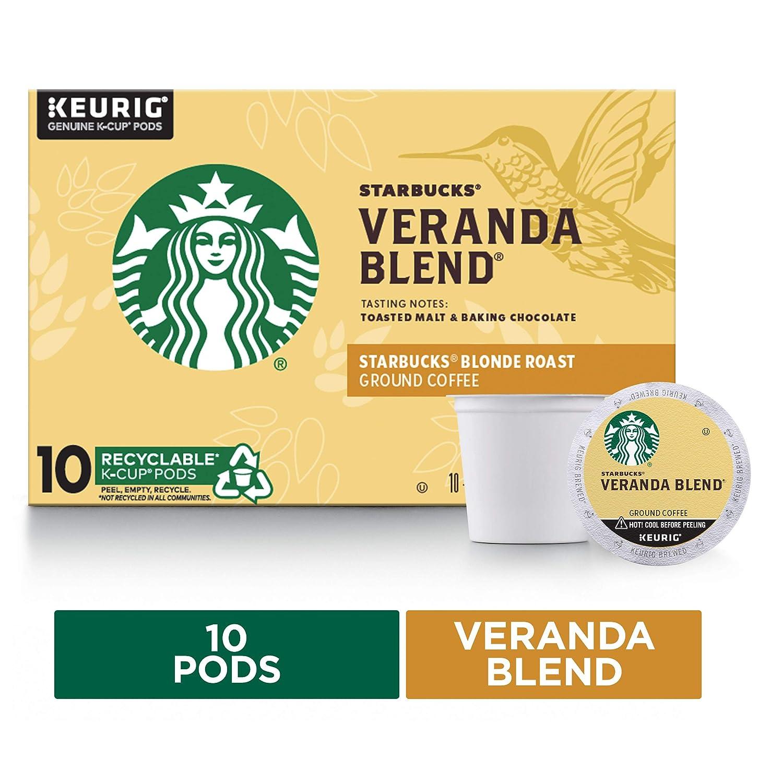 Starbucks Blonde Roast K-Cup Coffee Pods — Veranda Blend for Keurig Brewers — 1 box (10 pods)