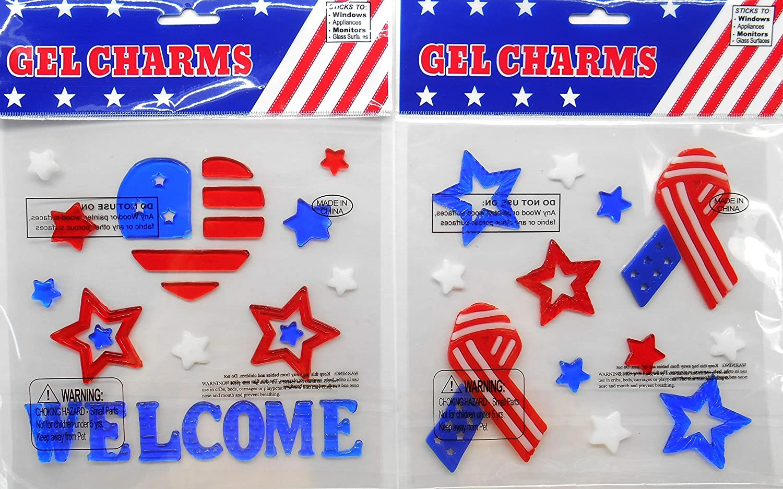 愛国的な赤、白、青の窓用ジェルステッカー 7月4日用、メモリアル、労働者の日用 Welcome and Ribbons 2個セット B07R4KTYK2