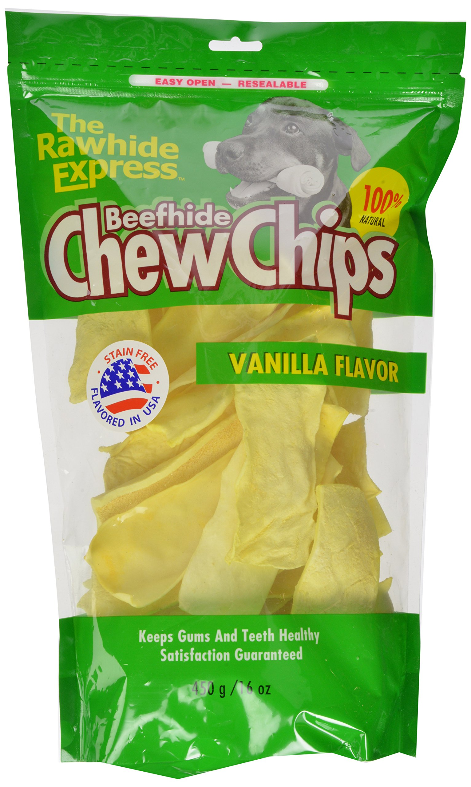 The Rawhide Express Beefhide Chew Chips Vanilla Flavored 1 Pound Bag (Great Reward or Treat)