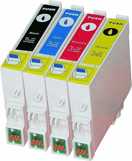 4 Cartuchos de impresora compatible para Epson T0611 T0612 T0613 ...
