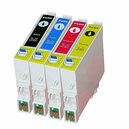 4 Cartuchos de impresora compatible para Epson T0611 T0612 T0613 T0614 (T0615) con chip