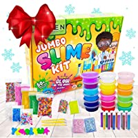 Zen Laboratory DIY Slime Kit Toy for Kids Girls Boys Ages 3-12, Glow in The Dark Glitter Slime Making Kit - Slime Supplies w/ Foam Beads Balls, 18 Mystery Box Containers Filled Crystal Powder Slime