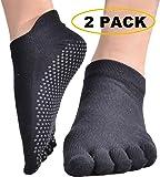 Beurlike Women's Yoga Socks Full Toe Grips No Slip Skid Barre Pilates Mens Socks