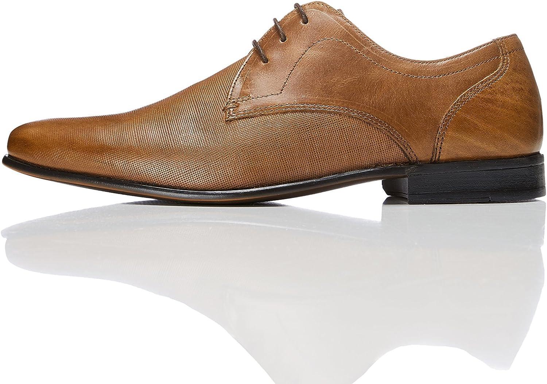 Marca Amazon - find. Zapato de Cordones con Textura en Piel para Hombre