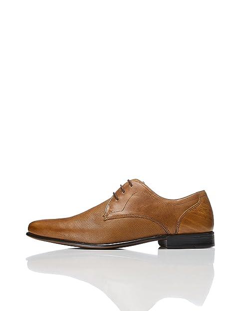 Find Zapato de Cordones con Textura en Piel para Hombre, Marrón (Tan), 44 EU