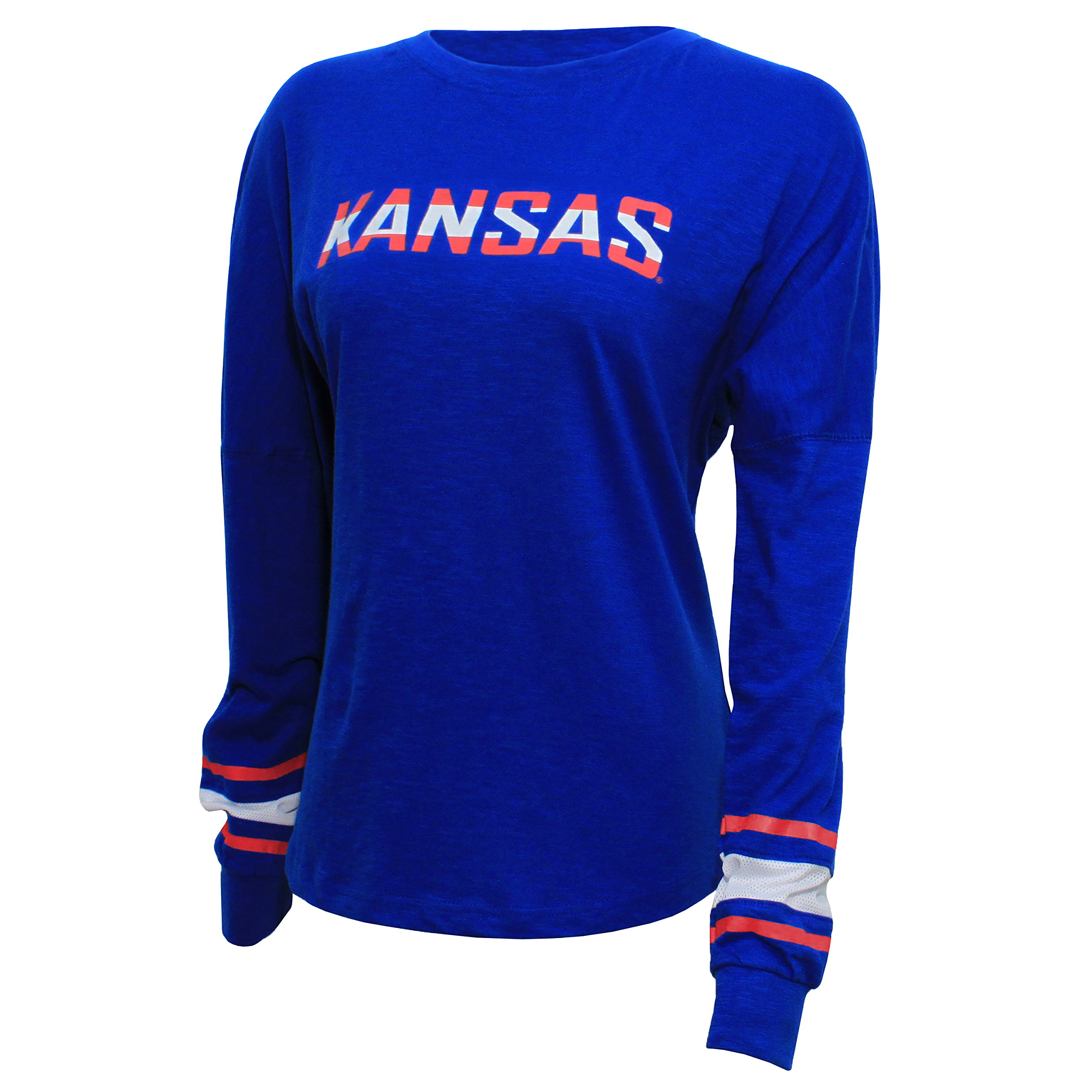 NCAA Kansas Jayhawks Women's Campus Specialties Long Sleeve Fan Tee, Small, Royal
