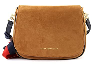 330a893911 TOMMY HILFIGER Iconic Foulard Leather Saddle Bag Suede Cognac ...