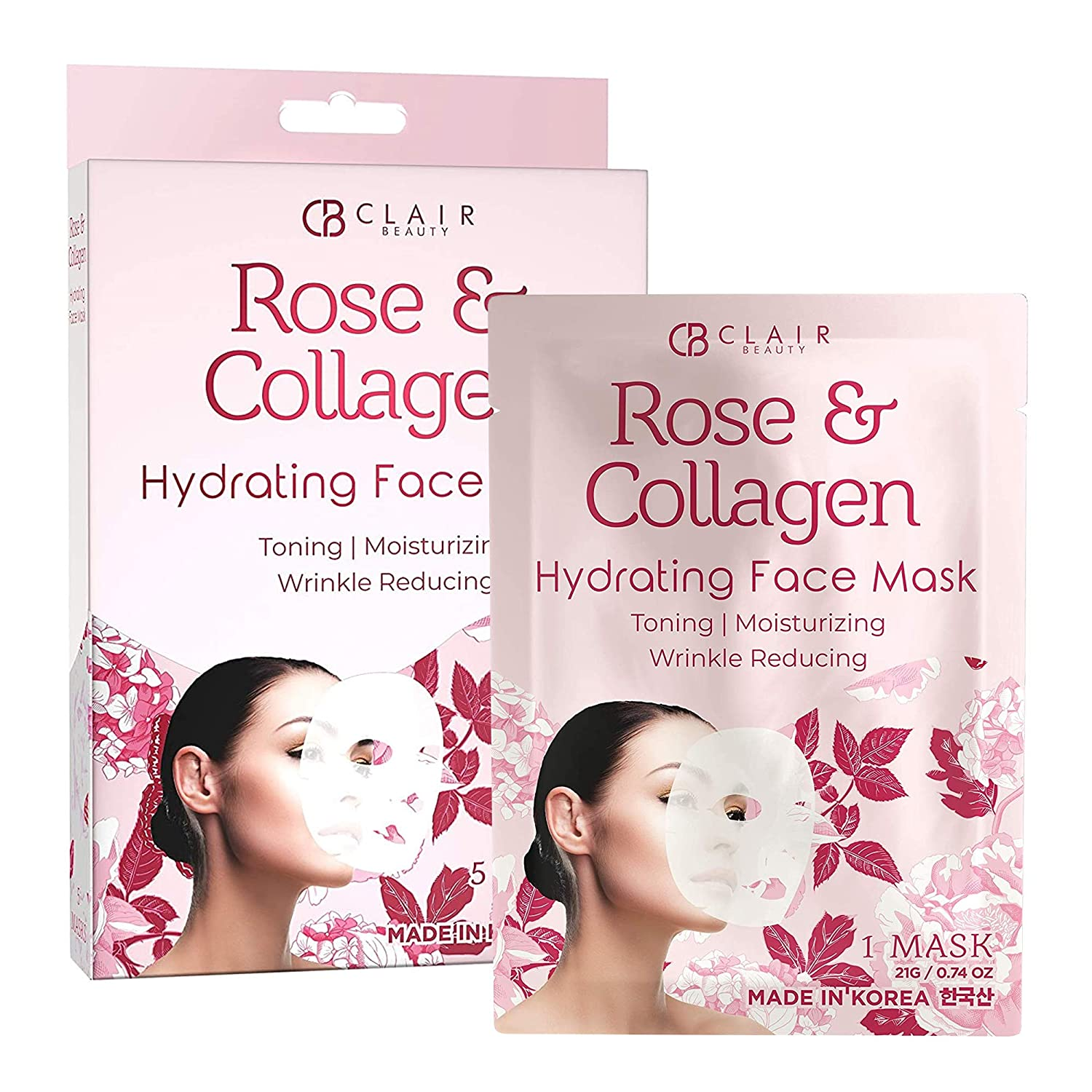 CLAIR BEAUTY Rose & Collagen Hydrating Sheet Face Mask - Deeply Moisturizing, Toning & Lifting   Reduces of Wrinkles & Fine Lines   Reduces Signs of Aging & Dry Patches   Made in Korea - 5 Pack