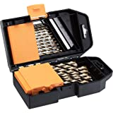 AmazonBasics Titanium Drill Bit Set - 29-Piece, M35 High Speed Steel HSS, for Steel, Alloy and Other Hard Metals