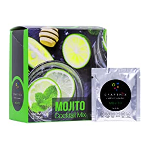Craftmix Cocktail Mix Mojito, Low Calorie,Vegan, Gluten Free, Low Carb, Low Sugar, Drink Mix For Mocktails, Liquor and Non-Alcoholic Beverages, 10 Single Serving Packets (6 Grams Each)