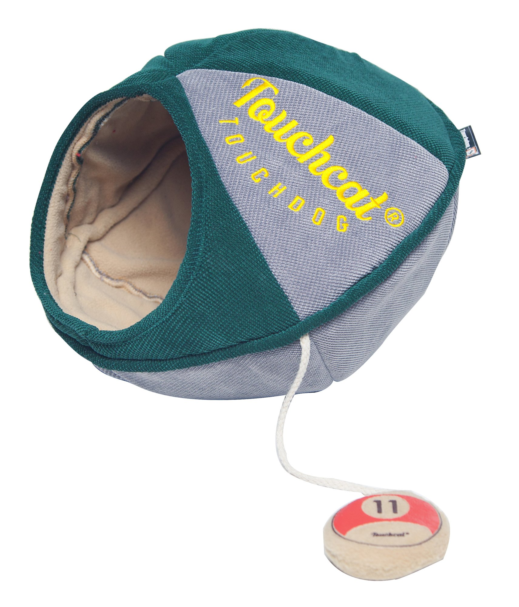 Touchcat 'Oval Saucer' Collapsible Walk-Through Kitty Pet Cat Bed House w/Play Active Teaser Toy, Large, Green