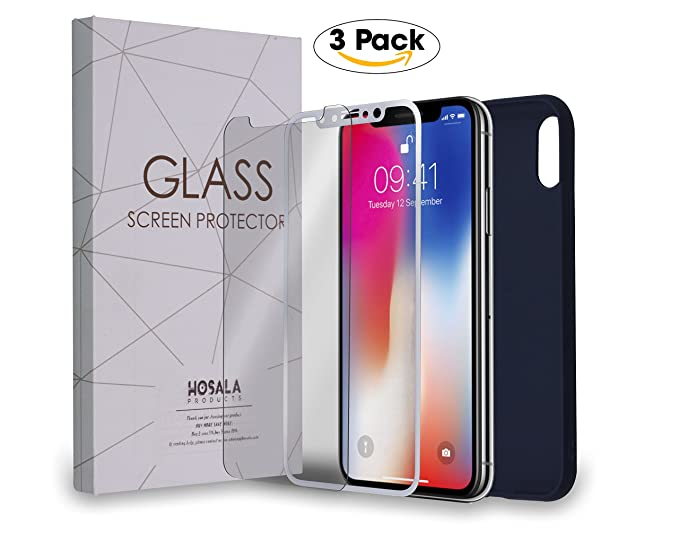 newest 94996 76a1a Iphone X Screen Protector |Anti-Shatter Anti-Scratch Tempered Glass 9H |5D  Full Mirror Screen [2 Pack]+ Silicone Case for Iphone X| Iphone 10 | 5.8 ...
