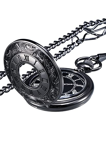 da5970d02c65 Reloj de Bolsillo de Cuarzo Escala Numeral Romano con Cadena (Negro ...