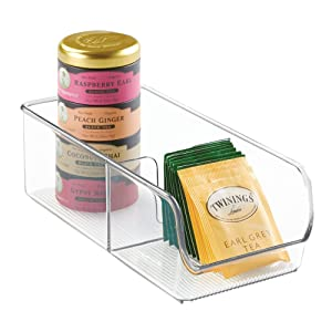 InterDesign Linus Spice Packet Organizer Bin – Storage Container for Kitchen Pantry, Cabinet or Countertops, Clear
