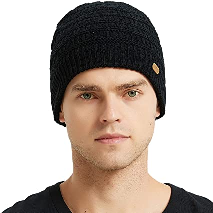 AxyOFsp Mens Winter Knit Beanie Cable Ski Daily Hat Warm Soft Cap