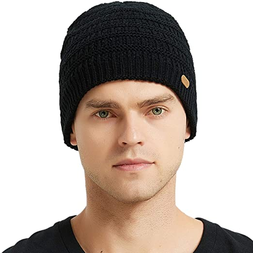 381ee5023375f7 AxyOFsp Mens Winter Knit Beanie Thick Ski Daily Hat Warm Soft Cap at ...