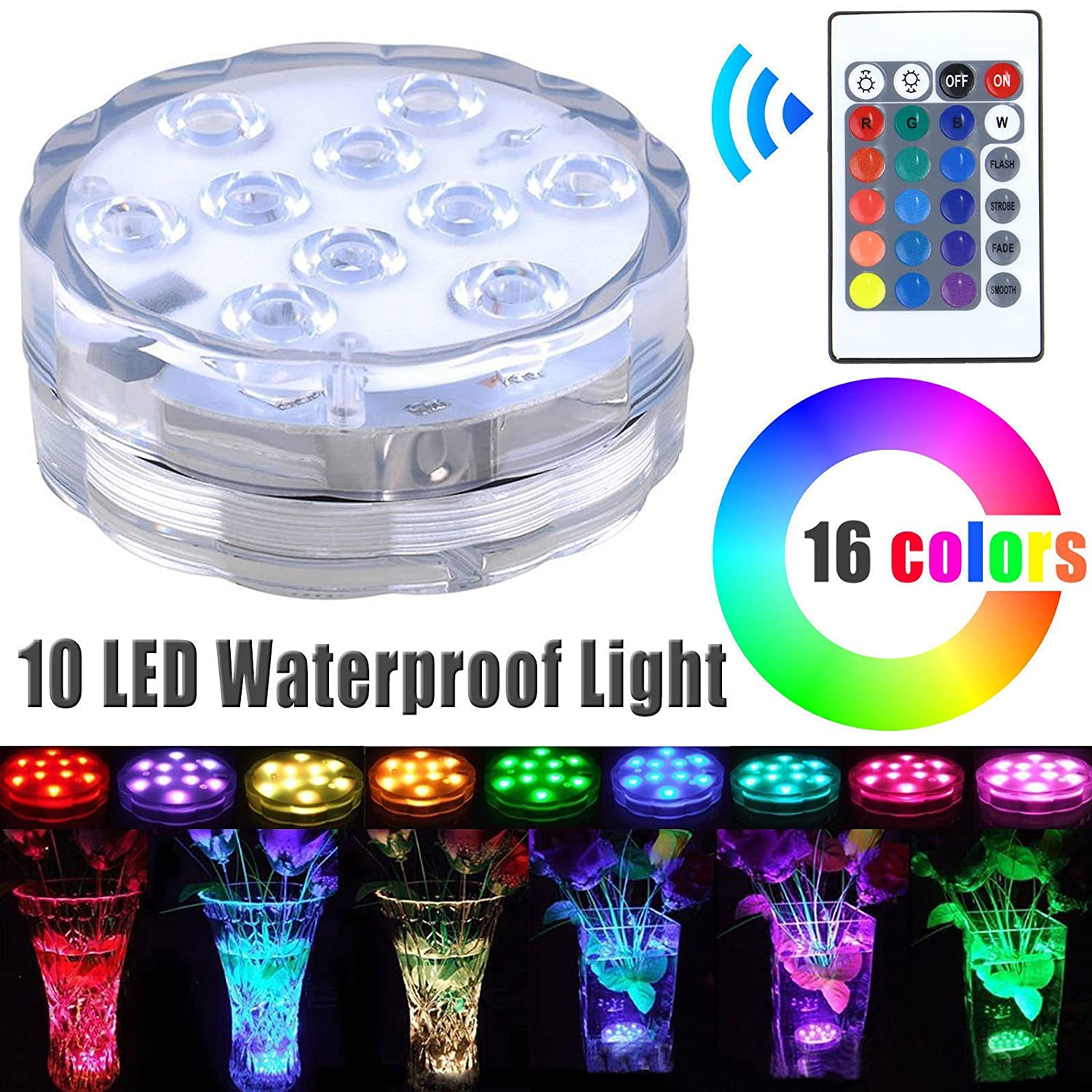 Szyoumy Submersible 10LED RGB Waterproof Light for Vase Wedding Party Fish Tank Decors 418296298