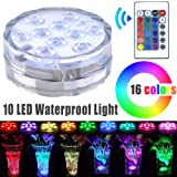 Waterproof Wedding LED Submersible Lights Battery Powered with Remote Control for Vase, Swimming Pools, Aquarium, Fish Tank, Garden
