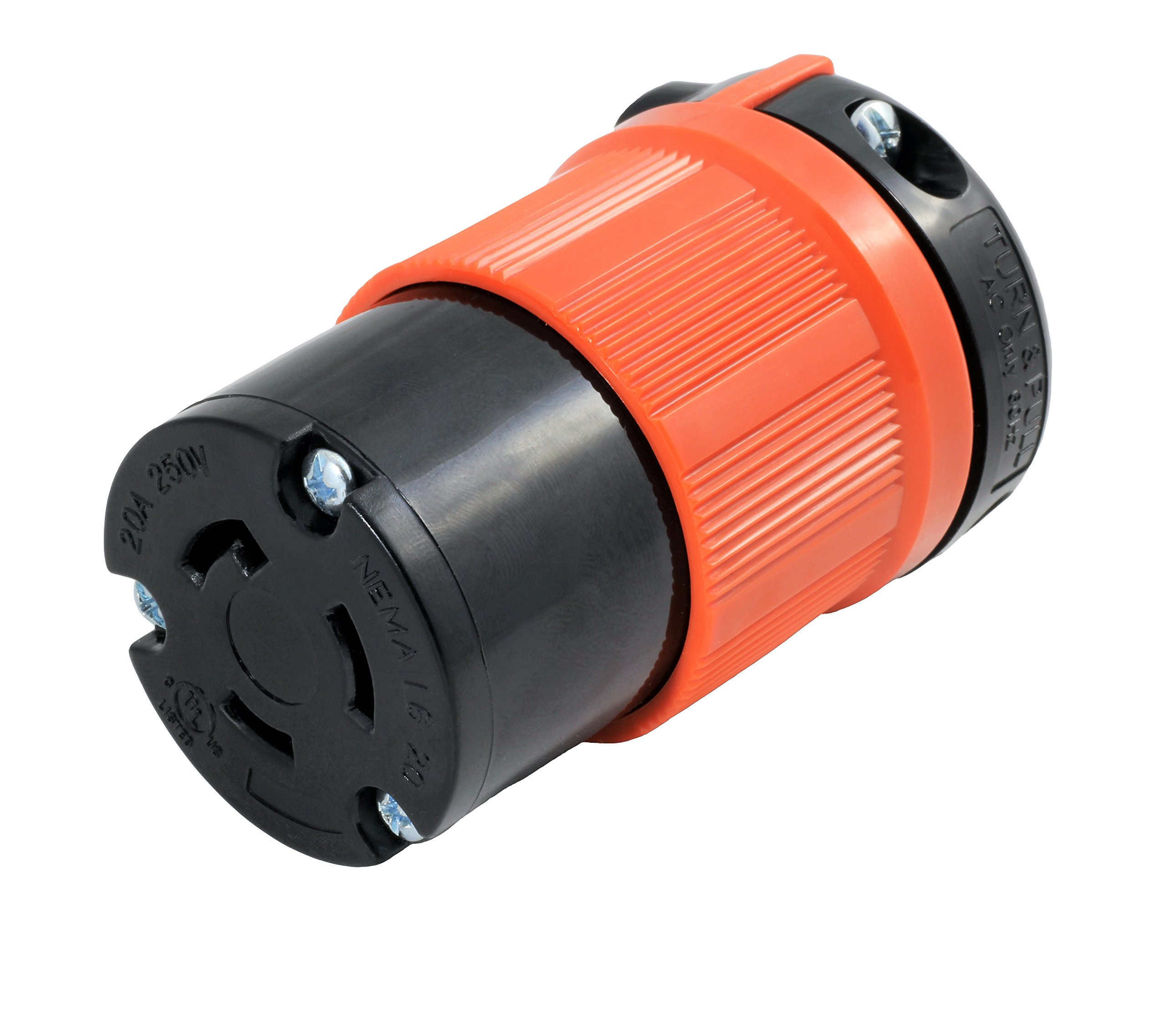 AC WORKS [ASL620R] NEMA L6-20R 20Amp 250Volt 3 Prong Locking Female Connector With UL, C-UL Approval