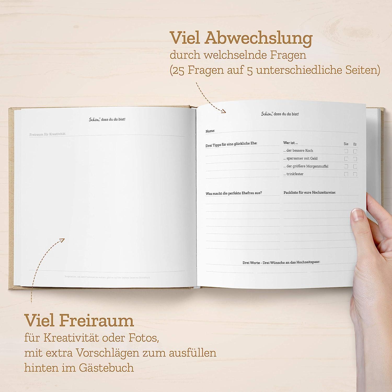 viel Freude beim ausf/üllen f/ür G/äste und sch/öne Erinnerung an Hochzeitsfeier individuell /& abwechselnd Kipitan Hochzeit-G/ästebuch mit Fragen
