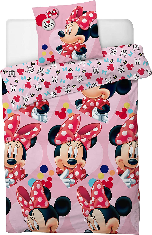 Disney/® Minnie Mouse I Love Juego de Funda de edred/ón para Cama Individual
