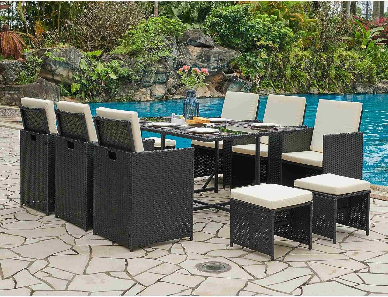 DecoInParis - Conjunto de Mesa de jardín de Resina Trenzada, 6 sillones y 4 pufs: Amazon.es: Jardín