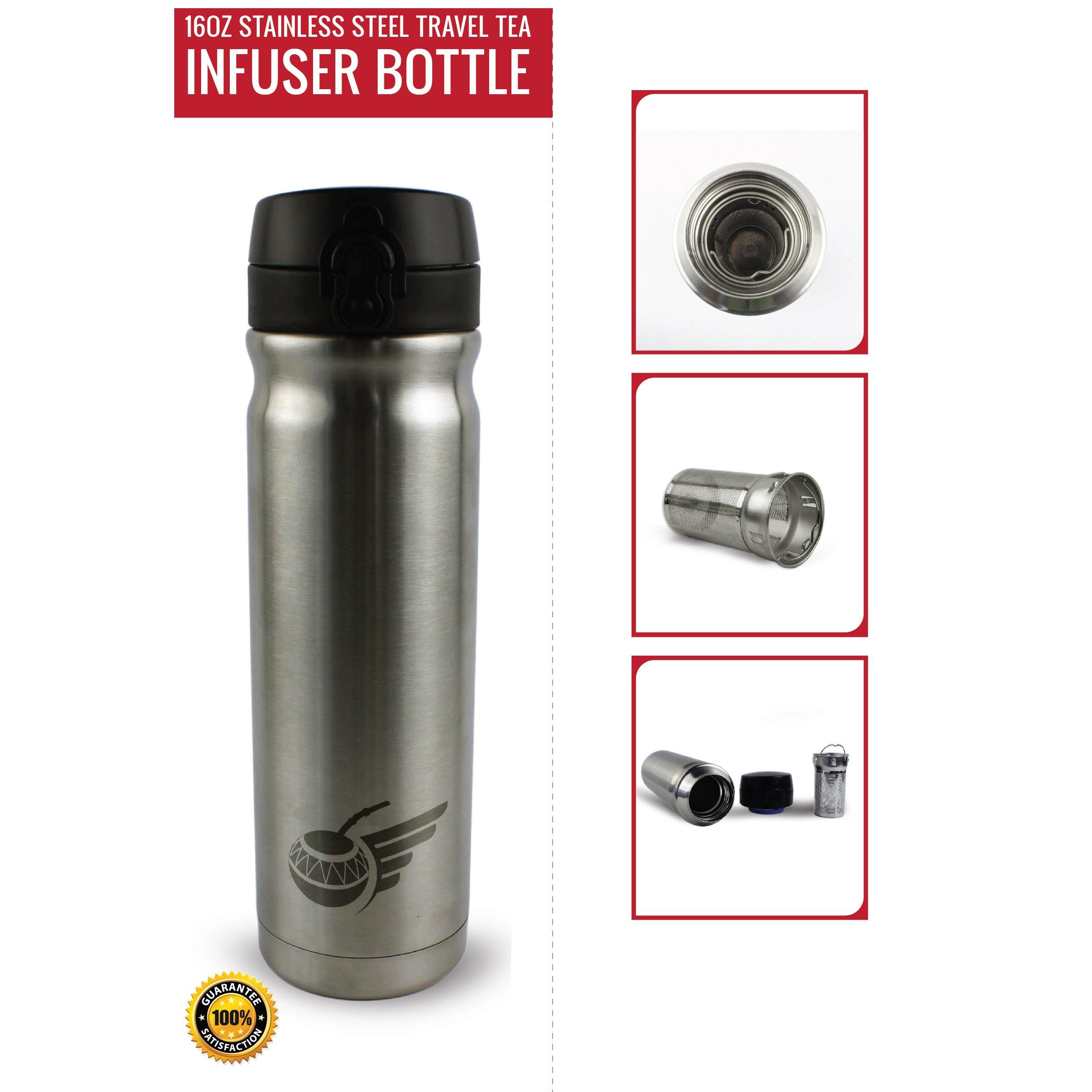 Flying Tea Gourd Travel Tea Infuser Bottle, Loose Leaf, Stainless Steel Tea Thermos with Mesh Tea Basket, 16oz
