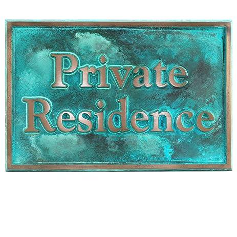 Beleved Edge Private Residence Sign   18x12  Raised Bronze Verdi Coated