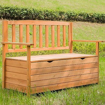 Patio Furniture Storage Bench.Rhomtree Outdoor Patio Wood Storage Bench Deck Box Garden Loveseat Furniture All Weather Cabinet Seat 47 Inch