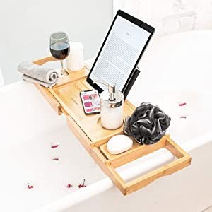 Bathtub Tray with Book Holder for Reading: Extendable Bath Caddy Wine Glass Holder for Tub. Turn Your Bathroom into a Spa with These Relaxing Bath. Bubble Bath Accessories and Gifts for Women and Men