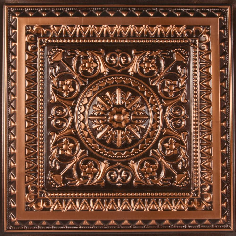 Amazon Com Udecor Marseille Antique Copper 2 Ft X 2 Ft Lay In Or Glue Up Ceiling Tile Case Of 12 Home Kitchen