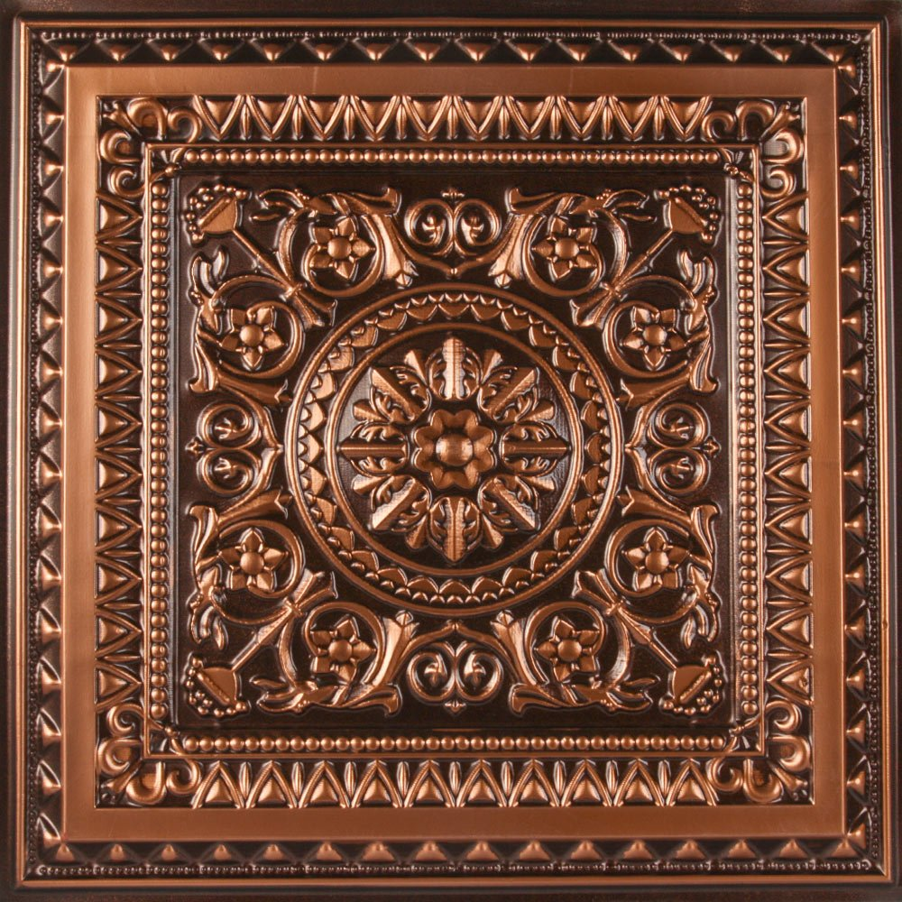 uDecor Marseille Antique Copper 2 ft. x 2 ft. Lay-in or Glue Up Ceiling Tile (Case of 12) by uDecor