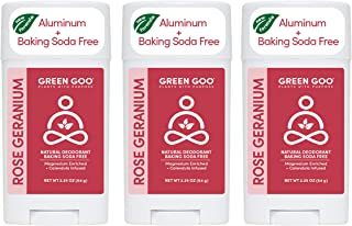 product image for Green Goo Natural Deodorant for Men and Women, Rose and Geranium, Oval, 2.25 Ounce, Pack of 3 (Packaging May Vary)