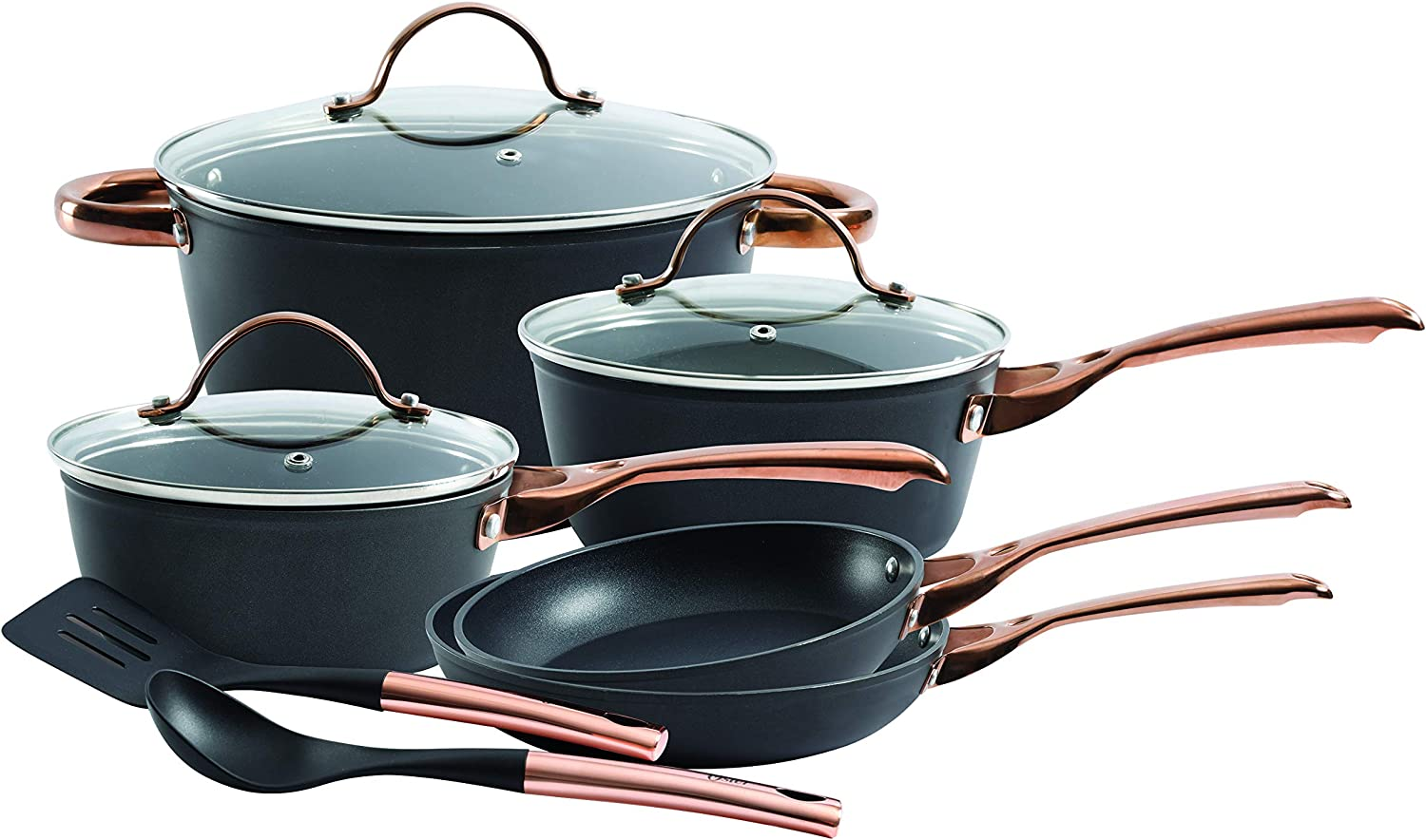 Oster Allsberg Forged Aluminum Non-Stick Titanium Ceramic Cookware with Induction Base and Copper PVD Plated Stainless Steel Handles, 10-Piece Set, Matte Black