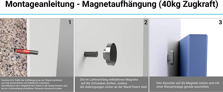 mit Alurahmen Horch Akustik Wandabsorber Akustikelement Moos Handmade in Germany 60cm x 60cm Magnetaufh/ängung Schallabsorber
