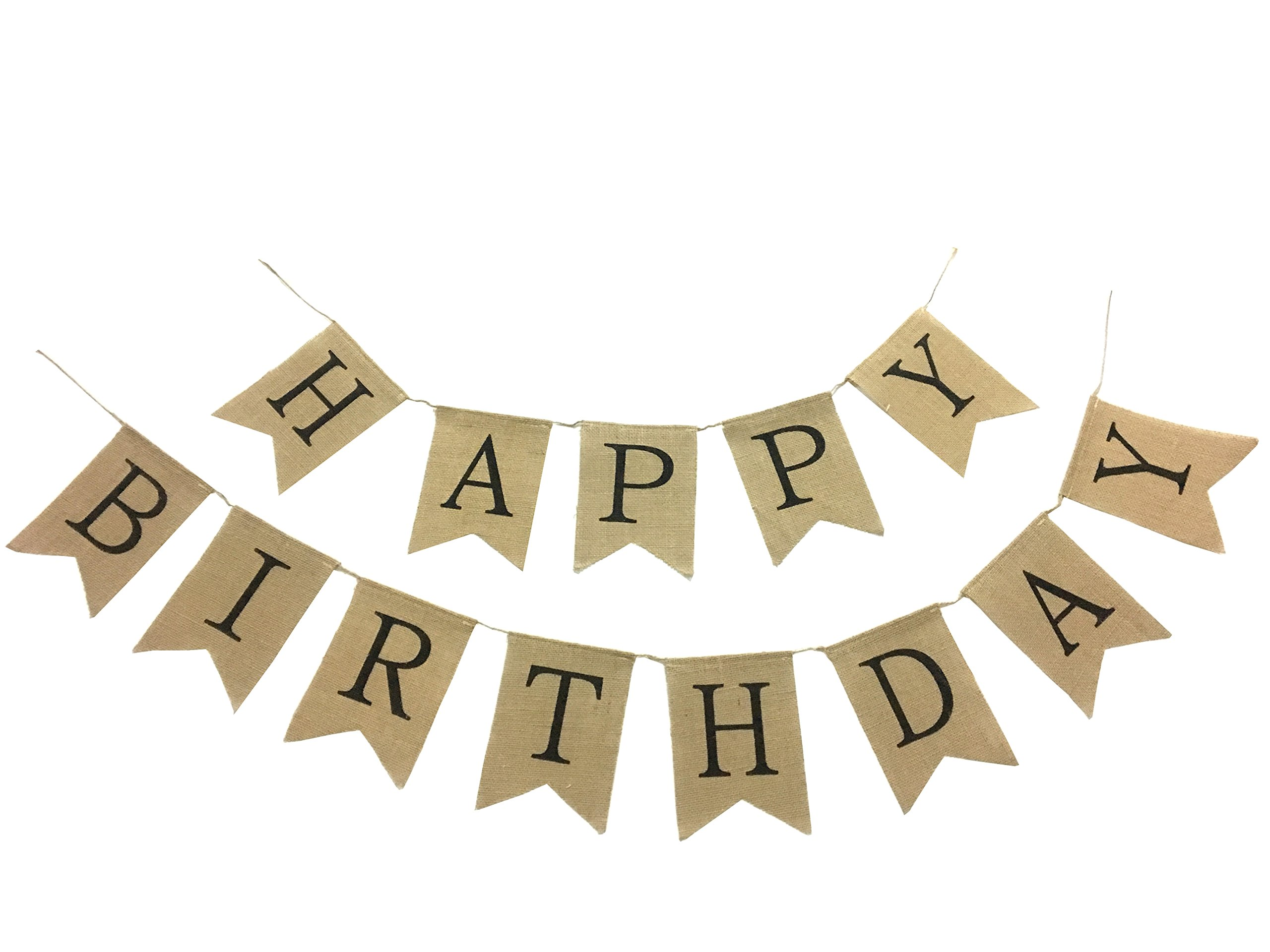 Burlap Happy Birthday Banner Rustic Birthday Party Bunting Banners, Garland Sign For Birthday Party Supplies, Birthday Decorations.
