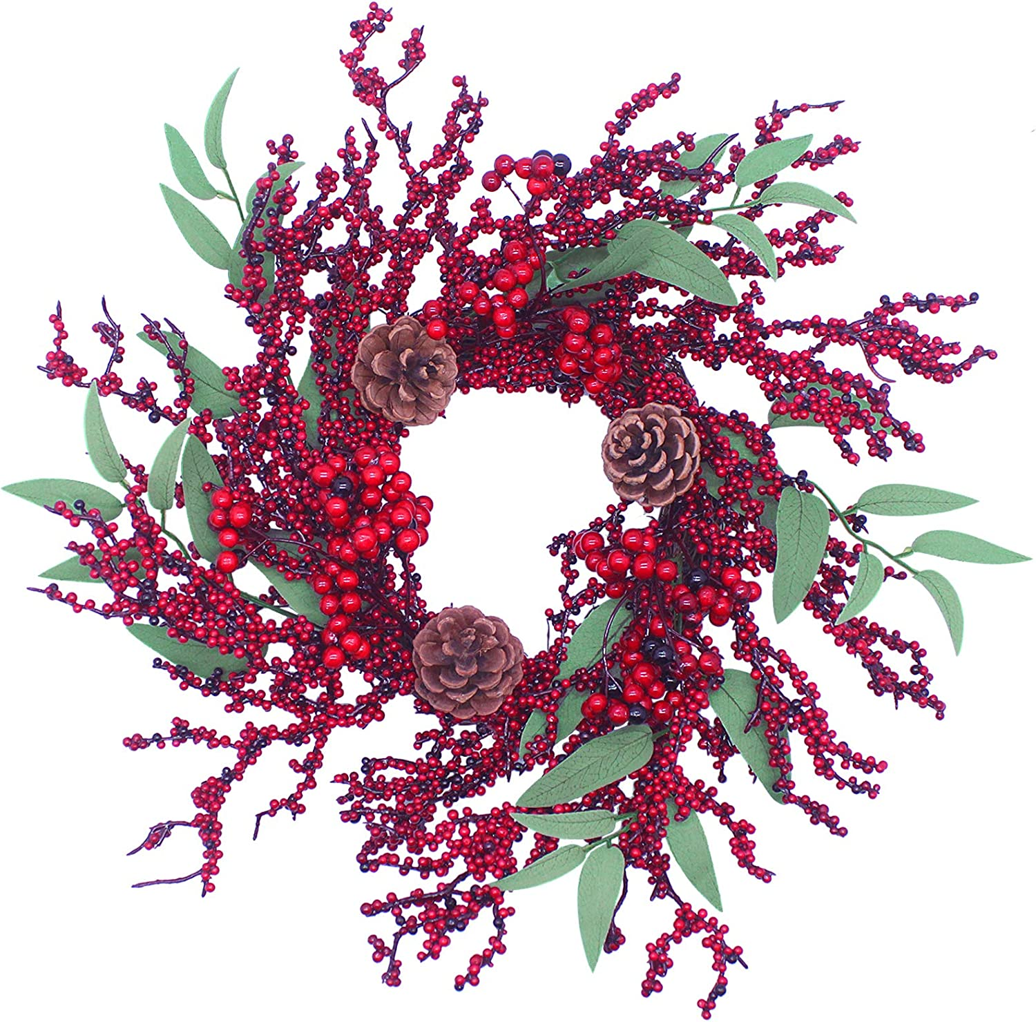 "Aimanni 16"" Christmas Wreath, Red Berry & Pinecones Artificial Wreath, Handmade Floral Front Door Wreath for Holiday Festival Home Farmhouse Wall Decor"